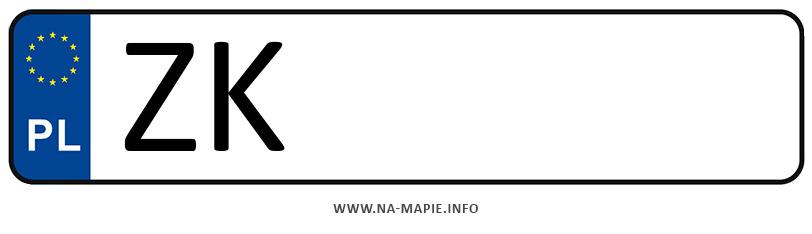 Rejestracja ZK, miasto Koszalin
